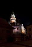 Cesky Krumlov - άποψη νύχτας πύργων κάστρων Στοκ φωτογραφία με δικαίωμα ελεύθερης χρήσης