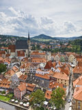 Cesky Krumlov. Overview of the beautiful town of Cesky Krumlov, in the Czech Republic, from the tower of the castle Royalty Free Stock Images