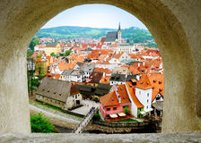 Cesky Krumlov. The view of cesky krumlov from the wall's window of the palace Royalty Free Stock Image