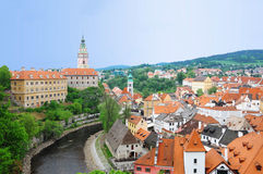 Cesky Krumlov. View of valtava river through Cesky Krumlov, Czech republic Royalty Free Stock Photography