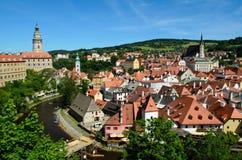 Cesky Krumlov城堡和城镇 库存图片