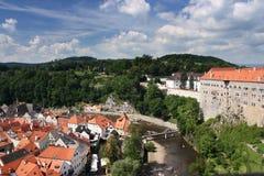 Cesky Krumlov. River Vltava running through the historical city of Cesky Krumlov, Czech Republic Stock Images