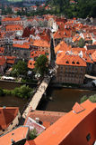 Cesky Krumlov. Bridge and roofs of the historical city of Cesky Krumlov, Czech Republic Royalty Free Stock Images