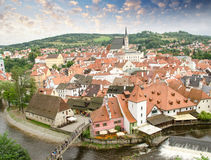 Cesky Krumlov aerial view with medievalo architecture and Vltava Royalty Free Stock Photo