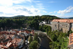 Cesky-Krumlov beautiful view of the old city. Stock Images