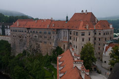 Cesky Krumlov Castle. View of Castle in Cesky Krumlove, Czech Republic from the bell tower on a cloudy day Stock Photos