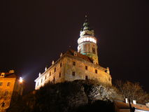 Cesky Krumlov Castle. View of the Castle in Cesky Krumlov at night (UNESCO Stock Image