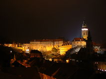 Cesky Krumlov Castle. View of the Castle in Cesky Krumlov at night (UNESCO Royalty Free Stock Images