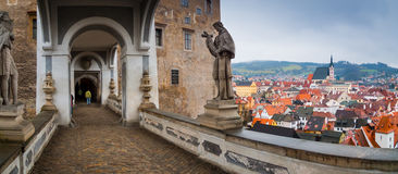 Cesky Krumlov Castle bridge panorama Stock Photo