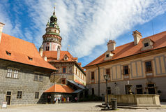 Cesky Krumlov Castle courtyard, Czech Republic Royalty Free Stock Photo