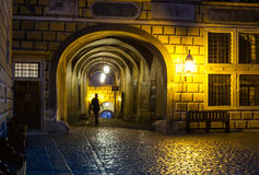 Cesky Krumlov castle courtyard passage Royalty Free Stock Photos