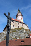 Cesky Krumlov castle in Czech. Cesky Krumlov in Czech, with The cross of Jesus Royalty Free Stock Photos