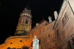 Cesky Krumlov Castle. In Czech Republic at night with a bright façade royalty free stock photo