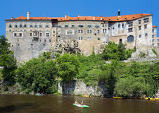 Cesky Krumlov Castle and rafting on Vltava river Royalty Free Stock Photos
