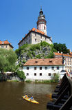 Cesky Krumlov Castle and rafting on Vltava river Stock Image