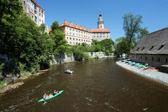 Cesky Krumlov Castle and rafting on Vltava river Royalty Free Stock Images