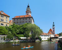 Cesky Krumlov Castle and rafting on Vltava river Royalty Free Stock Photo