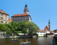 Cesky Krumlov Castle and rafting on Vltava river Royalty Free Stock Photo