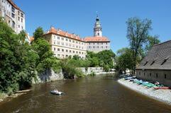 Cesky Krumlov Castle and rafting on Vltava river Stock Image