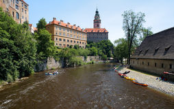 Cesky Krumlov Castle and rafting on Vltava river Royalty Free Stock Photography