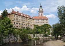 The Cesky Krumlov Castle with River Vlatava Royalty Free Stock Photography