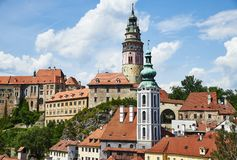Cesky Krumlov Castle and St. Jošt Church royalty free stock images
