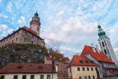 Cesky Krumlov Castle and St.Vitus Cathedral. Shot from wooden bridge. Stock Images