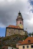Cesky Krumlov castle. Tower of Cesky Krumlov castle, Clouds in the sky Stock Image