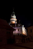 Cesky Krumlov - castle tower night view Royalty Free Stock Photo