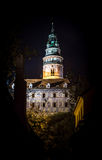 Cesky Krumlov - castle tower night view Stock Photos