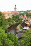 Cesky Krumlov. Castle tower and the palace of Cesky Krumlolov, a UNESCO World Heritage Site and was given this status along with the historic Prague castle Stock Photography
