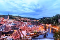 Cesky Krumlov Castle with Tower in twllight Royalty Free Stock Photos