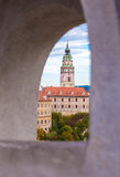 Cesky Krumlov - castle tower. View from the castle wall, the castle tower in Ceský Krumlov , Czech Republic Royalty Free Stock Photo