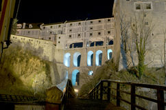 Cesky Krumlov Castle - wing, night scene Royalty Free Stock Images