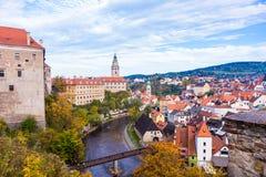 Cesky Krumlov. Ceský Krumlov panorama with Moldavia river, Czech Republic Royalty Free Stock Photos