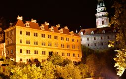 Cesky Krumlov Church Castle Night Autumn. Beautiful night view to church and castle in Cesky Krumlov, Czech Republic. Historic Krumlov Castle dating from year Royalty Free Stock Photos