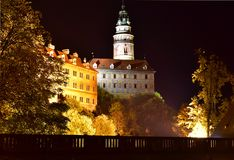 Cesky Krumlov Church Castle Night Autumn. Beautiful night view to church and castle in Cesky Krumlov, Czech Republic. Historic Krumlov Castle dating from year Stock Photos