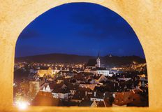 Cesky Krumlov city view through castle`s window in Czech Republic. Cesky Krumlov city view through castle window in Czech Republic stock photos