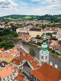 Cesky Krumlov city view from castle tower Stock Photography