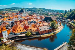 Cesky Krumlov cityspace and Vltava river in Czech. Cesky Krumlov city and Vltava river in Czech royalty free stock images