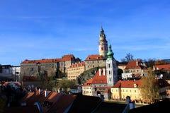 Cesky Krumlov in Czech. Panoramic of Cesky Krumlov in Czech, with Krumlov castle as background Royalty Free Stock Photography