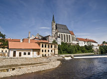 Cesky Krumlov - Czech republic. Beautiful town of Cesky Krumlov in the Czech Republic, with the river in the foreground and the buildings of the city on the Stock Photos