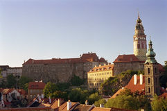 Cesky Krumlov, Czech Republic. The ornate baroque skyline of the small town of Cesky Krumlov Stock Images