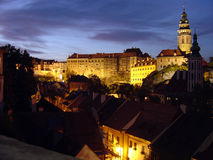 Cesky Krumlov, Czech Republic. View of the Czech city Cesky Krumlov at night Royalty Free Stock Photos