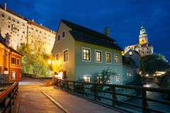 Cesky Krumlov, Czech Republic. Beautiful night view to night street Stock Photos