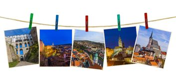 Cesky Krumlov in Czech republic images my photos on clothespin. S isolated on white background Royalty Free Stock Image