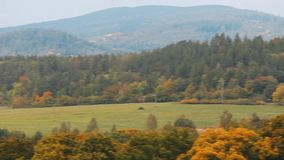 Cesky Krumlov, Czech Republic. Neighborhood Of City In Sunny Autumn Day. Pan. Panorama stock footage