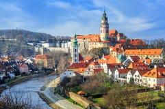 Cesky Krumlov, Czech republic. Picturesque town of Cesky Krumlov, or Krumau, is a famous UNESCO world culture heritage site in Czech Republic stock photos
