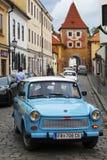 CESKY KRUMLOV, CZECH REPUBLIC - SEPTEMBER 20, 2014: Run of old retro cars on city streets.  Stock Photos
