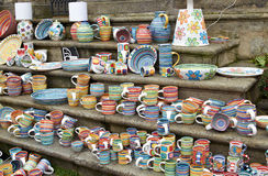 Cesky Krumlov, CZECH REPUBLIC - September 26, 2014: Souvenir cups on bohemian fair Stock Photography